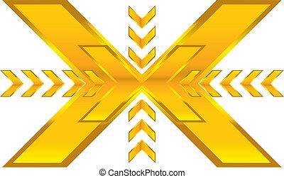 shiny abstract gold arrow