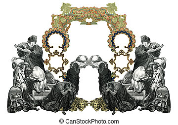 Old Frame - Old Vintage Victorian frame with frightened...