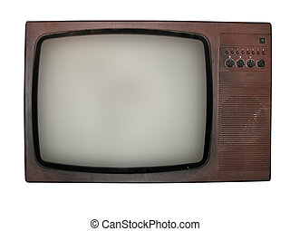 old tv isolated over white background - Vintage old tv...