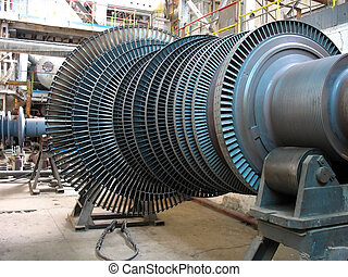 Power generator steam turbine during repair, machinery,...