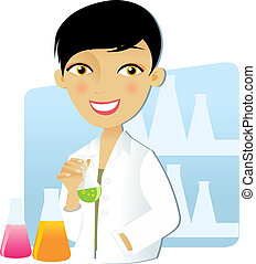 Scientist woman - Isolated scientist woman in lab coat with...