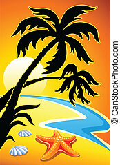 abstract landscape with sunset palm and sea star vector...