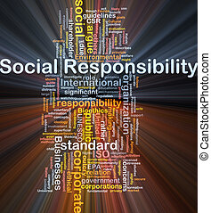 Social responsibility background concept glowing -...