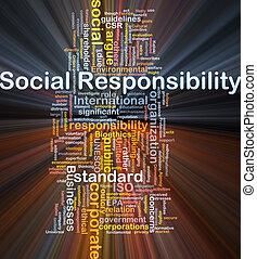 social, responsabilidade, fundo, conceito, Glowing