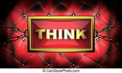 think  on velvet background