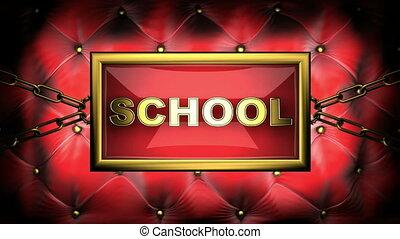 school on velvet background