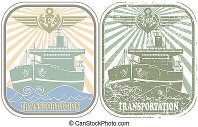 Sea transportation stamp - The vector image Sea...