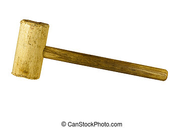wooden mallet - old wood mallet on white with clipping path...
