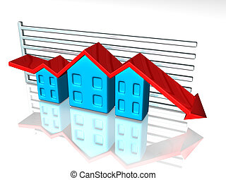 Housing market - Illustration of a graph depicting house...