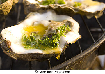 Oyster on barbeque (BBQ) - Oyster grilling on barbeque with...