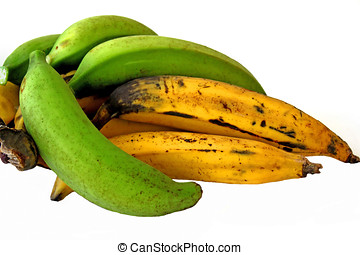Fresh Plantain - Green and yellow plantains,Isolated on...