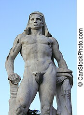 Virile statue - Detailed view of a virile statue in marble...