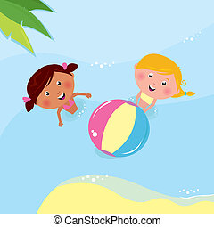 Vacation & holiday: Little girls playing with ball in the sea