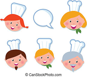 Cute cooking and icons set - chef family (  isolated on white )