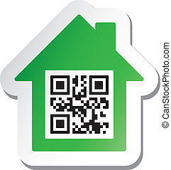 "Sticker with ""House for Sale"" data in qr code"