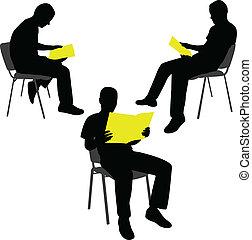 Man reading newspaper- vector