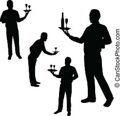 Waiters silhouettes - vector