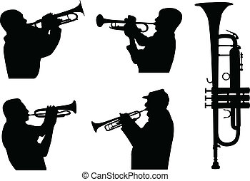 trumpeters - trumpet players silhouettes - vector