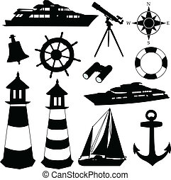 Sailing equipment silhouettes - vector