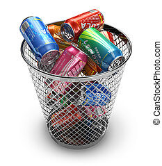 Recycling concept: drink cans in the trash bin