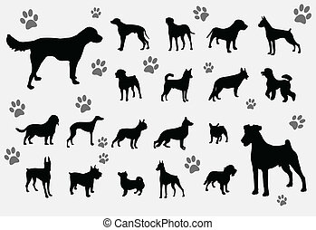 dogs collection - dogs silhouettes collection - vector