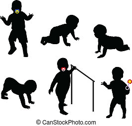 babies silhouettes - vector