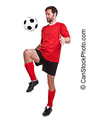 Footballer cut out on white - Photo of a footballer or...