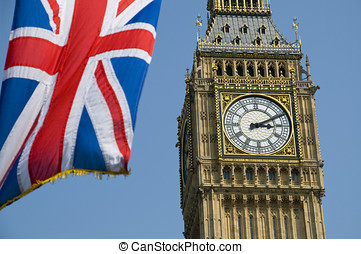 Union Flag and Big Ben - The Union Flag flying in front of...