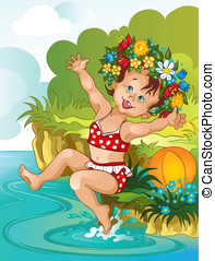 Little girl and the summer - Happy little girl bathe in...