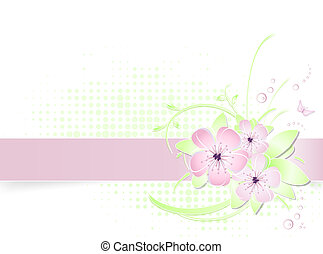 Light flower background with banner