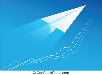 Flying Paper Airplane. Illustration for design on blue...