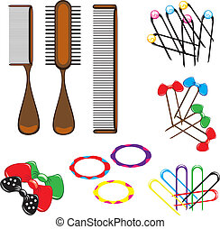 Three types of combs and a variety of beautiful hair accessories. Illustration on white background