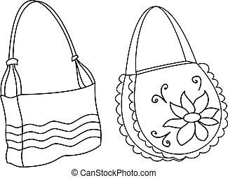 Female handbags, contours