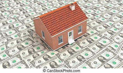 Dollar Housing Market - A house falling onto a floor of...