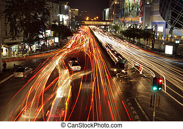bangkok traffic jam - long exposure on bangkok siam square...