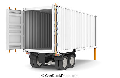 Container Trailer - Open and empty Container Trailer. Part...