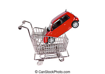 Buying a new car - Little red car in a small shopping cart