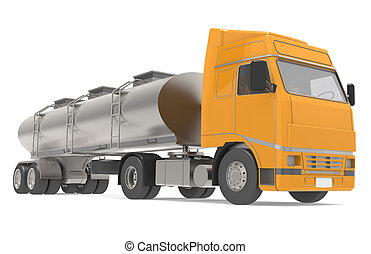 Tanker Truck - Tanker truck isolated on white, front view