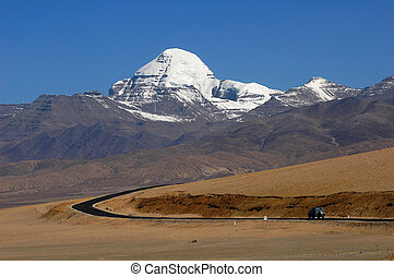 Landscape of snow-capped mountains in the highlands of Tibet