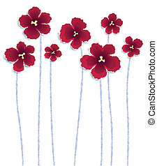 Red Flowers - Flowers made of torn paper, vector eps8...