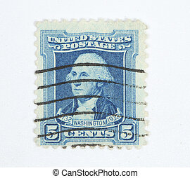 Franqueo, estampilla, Washington, 1932, 5, centavos