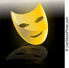 golden mask of comedy - on dark background abstract large...