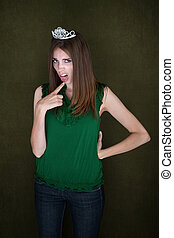 Woman With Tiara and Gag Gesture