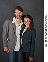 Smiling Man and Cross-Eyed Woman - Smiling male and...
