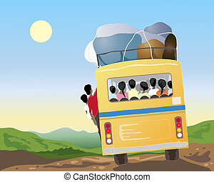 indian bus travel - an illustration of a yellow bus full of...