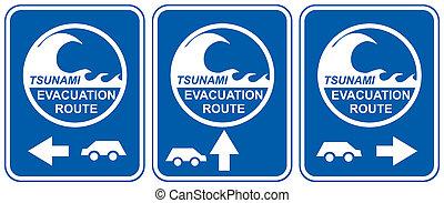 Tsunami evacuation vehicles - Tsunami warning signs showing...