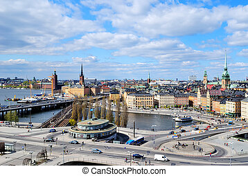 View of Stockholm from Sodermalm - View of the center of...