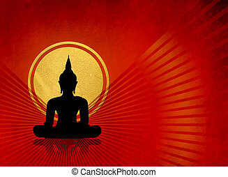 Black buddha silhouette against red grunge background with...