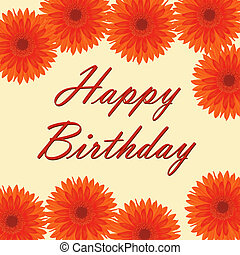 Happy Birthday card with gerberas