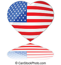 Love USA - Glossy illustration showing a heart with the flag...